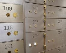 lock boxes in a bank