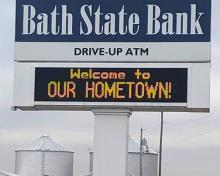 bank sign in west college corner