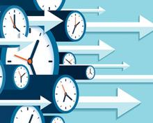 clocks with various times and arrows moving forward