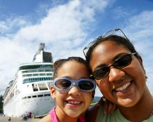 mom and child travel on cruise ship