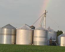 grain bins with a rainbow over it