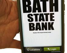 mobile banking app on a cell phone