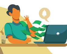 cartoon person at computer with fake money